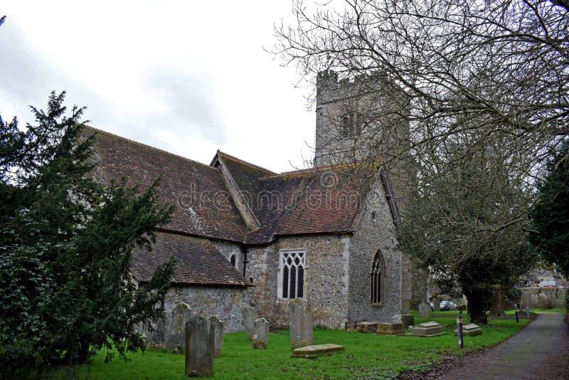 En Norman Church i Kent England arkivfoto
