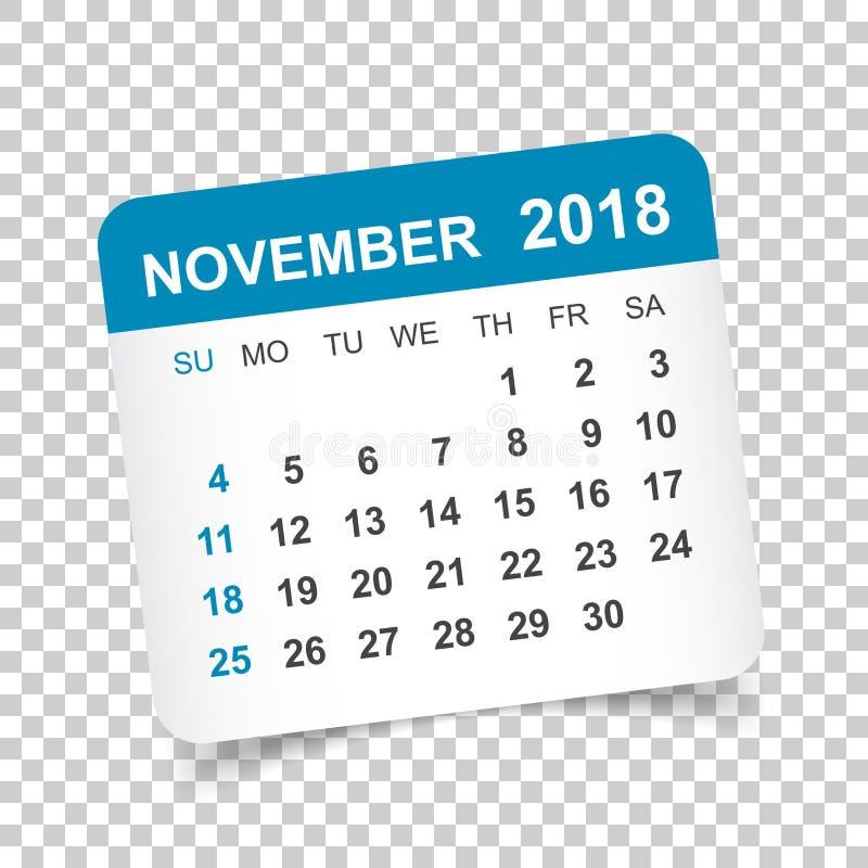 En Noviembre De 2018 Calendario Plantilla Del Diseño De La Etiqueta ...
