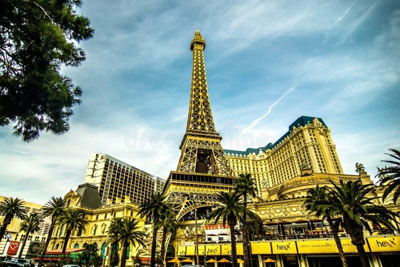 En noviembre de 2017 Las Vegas, Nevada - la tarde tiró de la torre Eiffel a foto de archivo