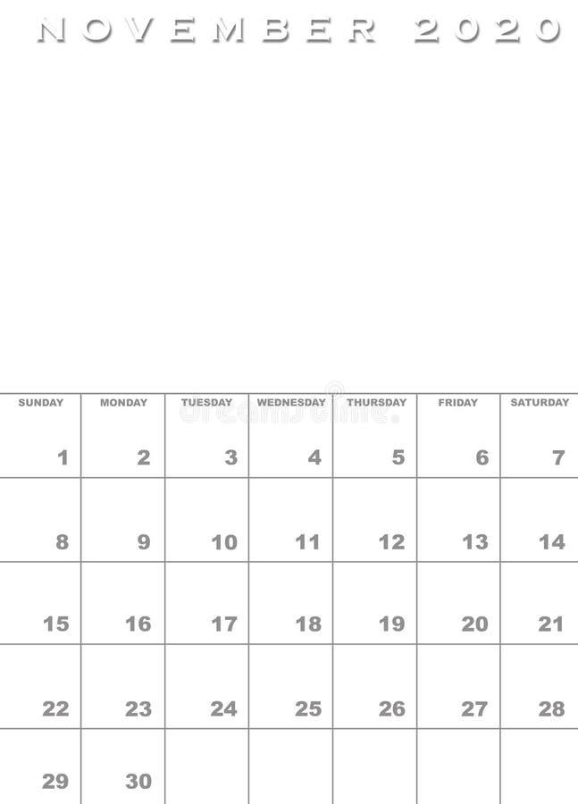 En noviembre de 2020 plantilla del calendario imágenes de archivo libres de regalías