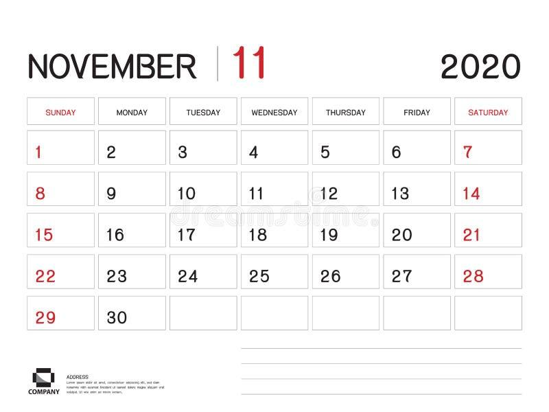 EN NOVIEMBRE DE 2020 plantilla del a?o, vector 2020, dise?o del calendario del calendario de escritorio, comienzo de la semana el ilustración del vector