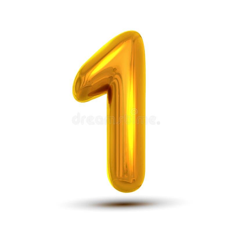 1 en nummervektor Guld- bokstavsdiagram för gul metall Siffra 1 Numeriskt tecken Beståndsdel för alfabettypografidesign stock illustrationer