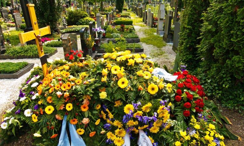 En ny grav i en kyrkogård royaltyfri bild