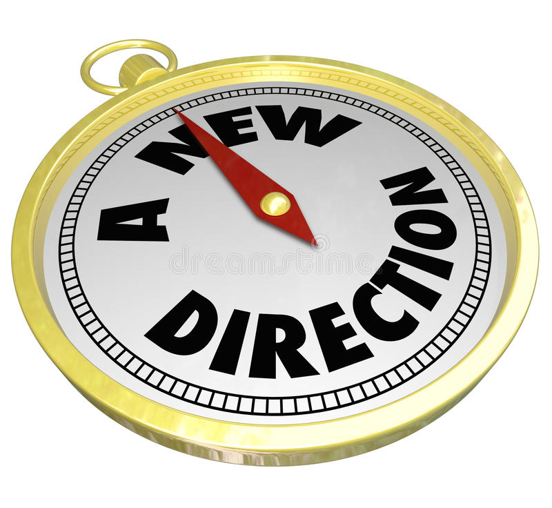 En ny guld- kompass för riktningsord väljer ändringskarriärbanan stock illustrationer
