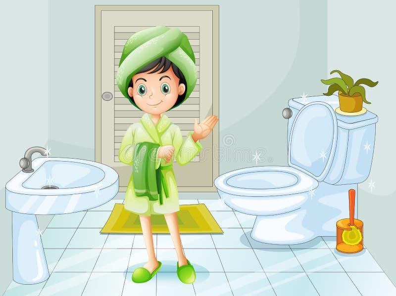 En ny ung flicka på badrummet vektor illustrationer