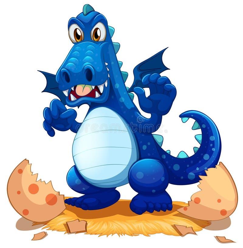 En nyligen kläckt blå drake vektor illustrationer