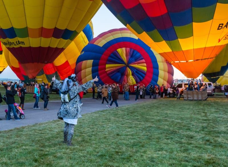 En octubre de 2017 Albuquerque, New México; La fiesta internacional del globo del aire caliente foto de archivo