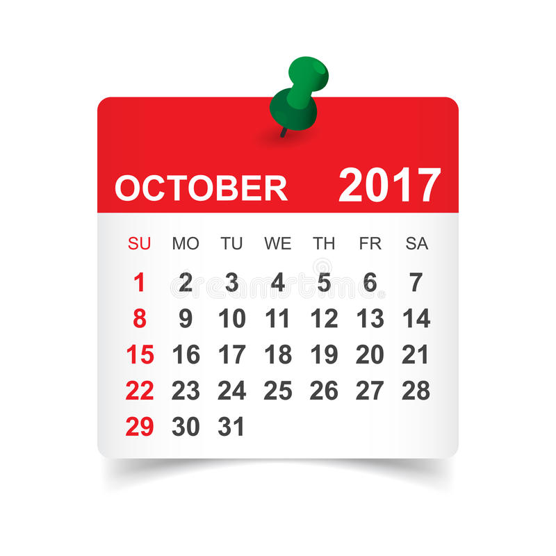 En octubre de 2017 calendario libre illustration