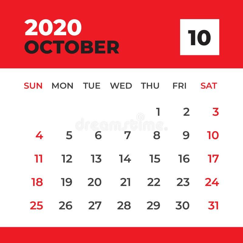 EN OCTUBRE DE 2020 plantilla, calendario de escritorio por 2020 a?os, comienzo de la semana el domingo, dise?o del planificador,  libre illustration