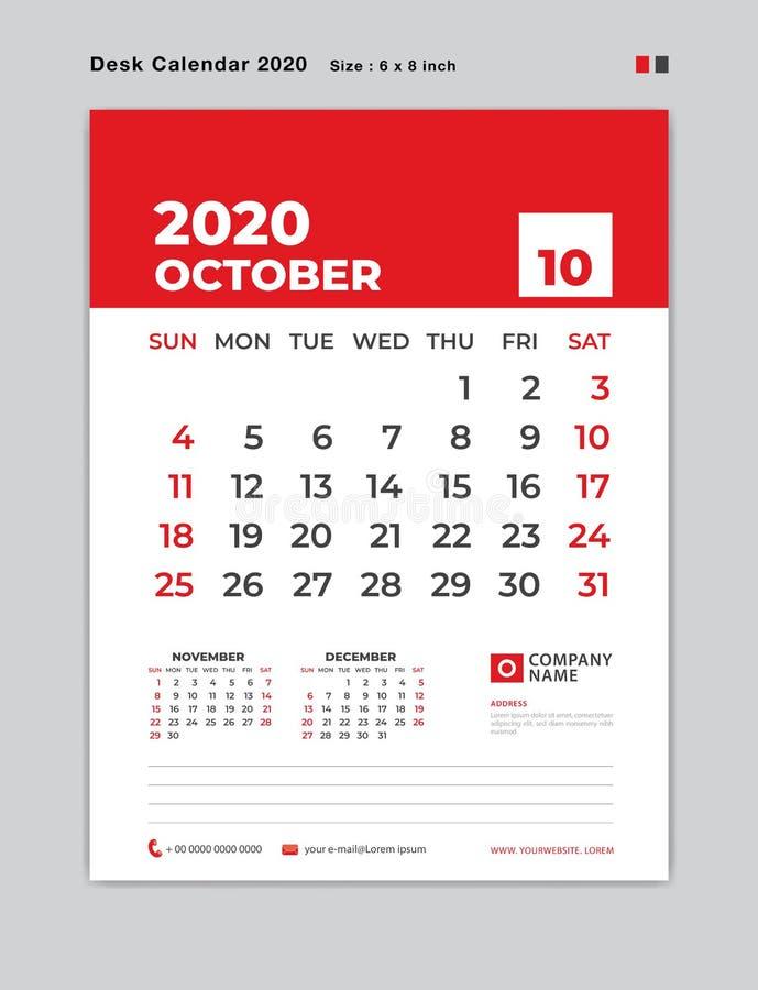 EN OCTUBRE DE 2020 plantilla del año, calendario de escritorio por 2020 años, comienzo de la semana el domingo, planificador, efe ilustración del vector