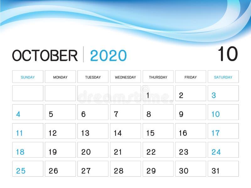 EN OCTUBRE DE 2020 plantilla del año, vector 2020, diseño del calendario del calendario de escritorio, comienzo de la semana el libre illustration