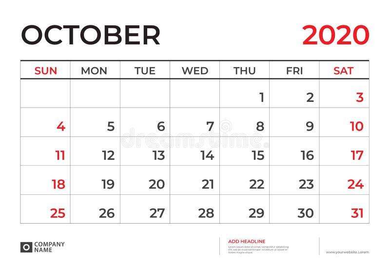 EN OCTUBRE DE 2020 plantilla del calendario, talla 9 de la disposición de calendario de escritorio r r stock de ilustración