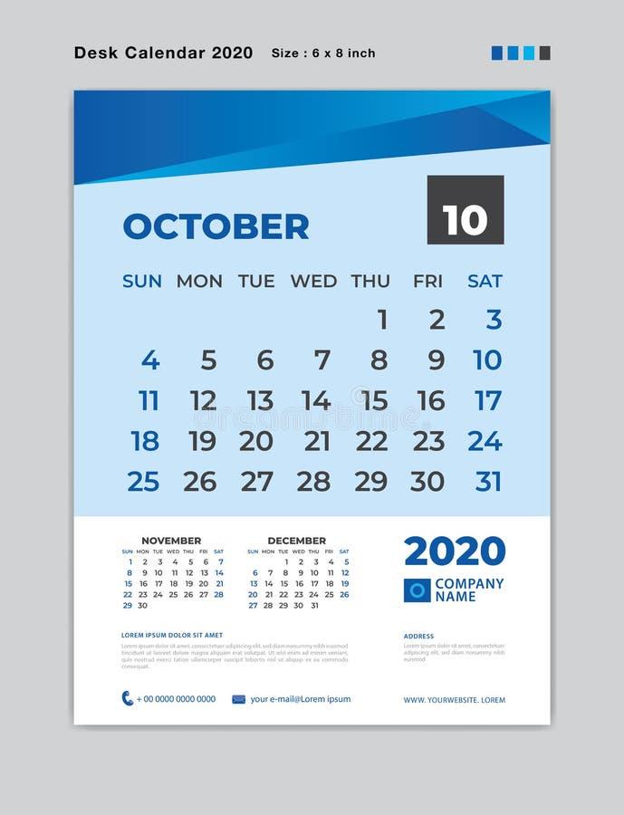 EN OCTUBRE DE 2020 plantilla del mes, calendario de escritorio por 2020 años, comienzo de la semana el domingo, planificador, efe ilustración del vector