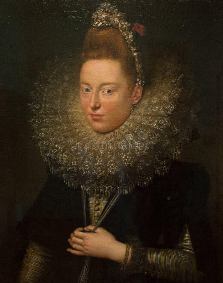 En olje- målning som gjordes av Pieter Paul Rubens i 1779, namngav `-damen med glim`, royaltyfri foto