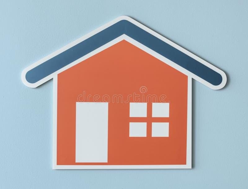 En orange huspapperssymbol stock illustrationer