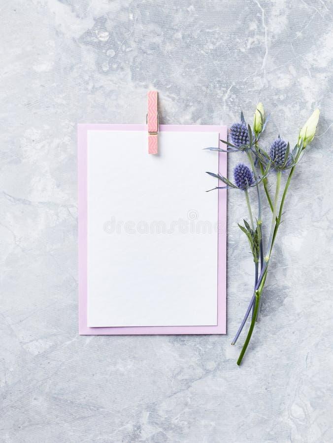 En ordning av blommor och pappers- kort på grå bakgrund arkivfoton