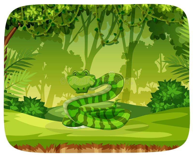 En orm i djungel stock illustrationer