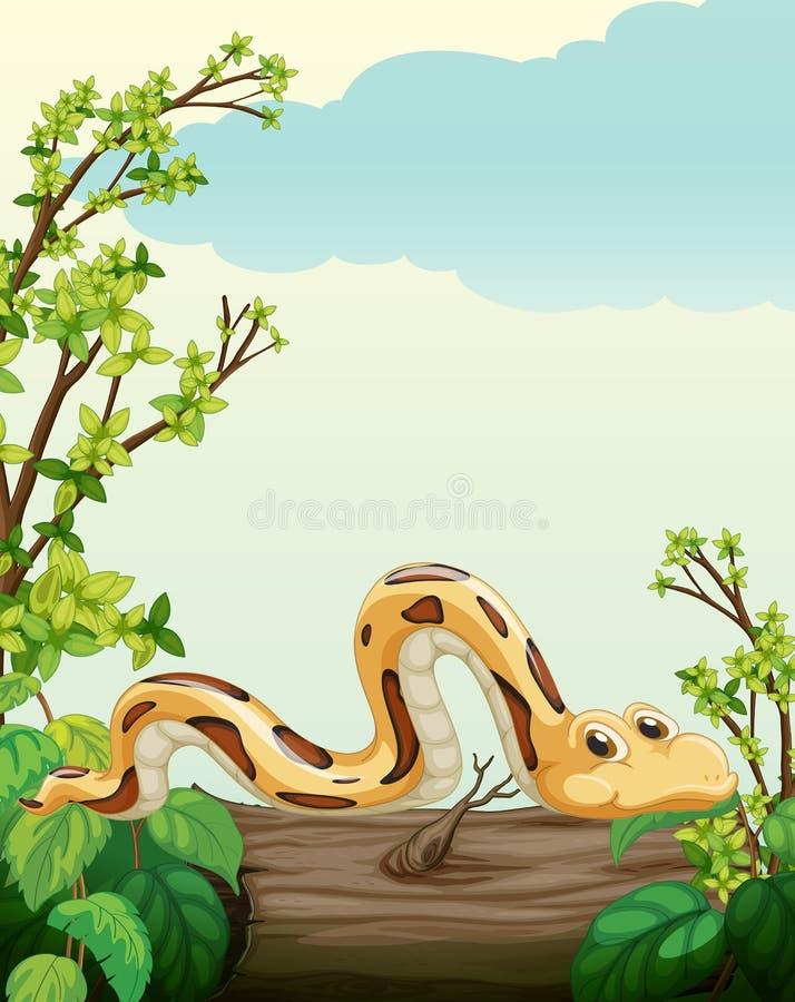 En orm på träd royaltyfri illustrationer