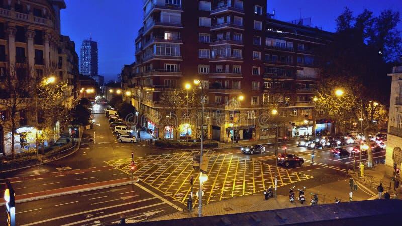 En ottasikt av centret i Madrid, Spanien arkivfoton