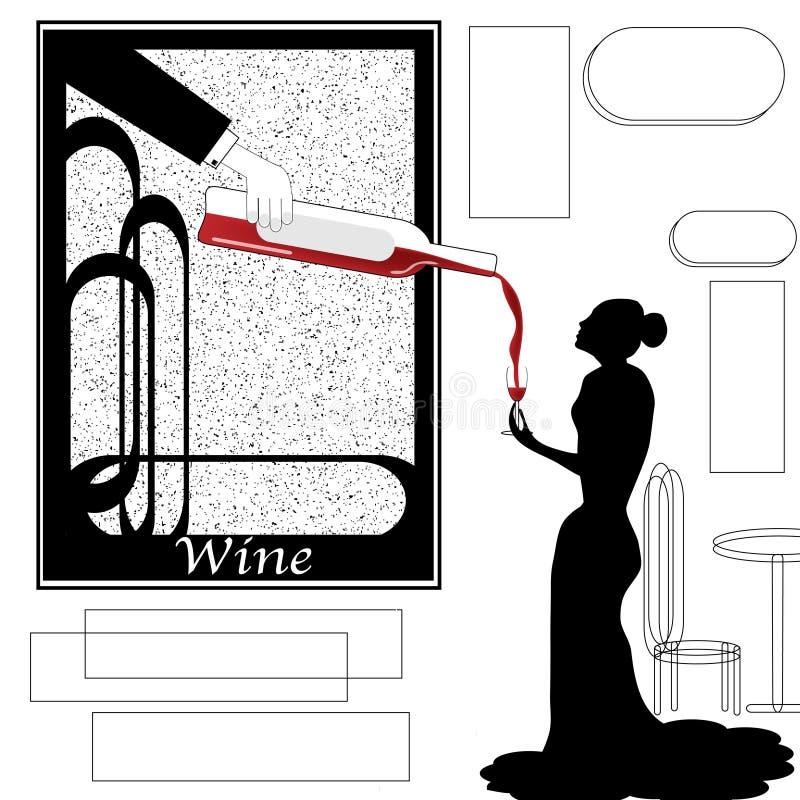 En overklig smutt av vin vektor illustrationer