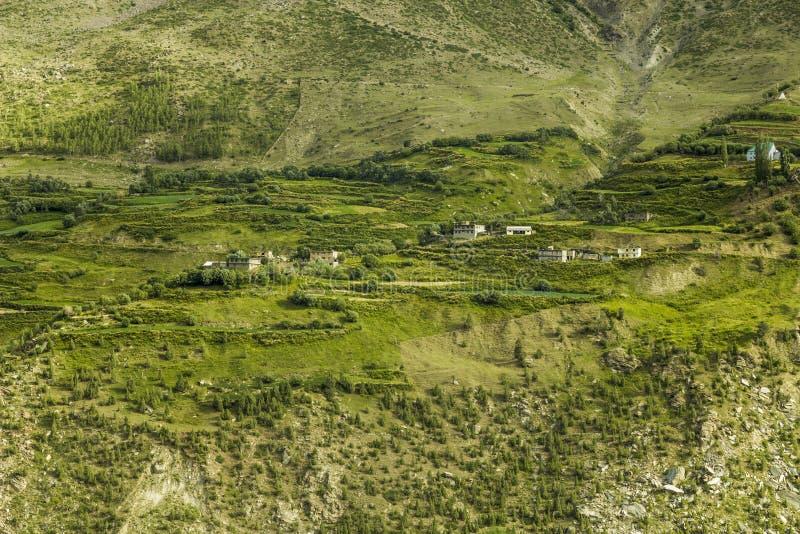 En by på den gröna lutningen av berget royaltyfri bild