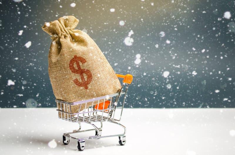En påse av pengar i en supermarketspårvagn Julbefordringar Presentkort för köp Bidrag och investering royaltyfria foton
