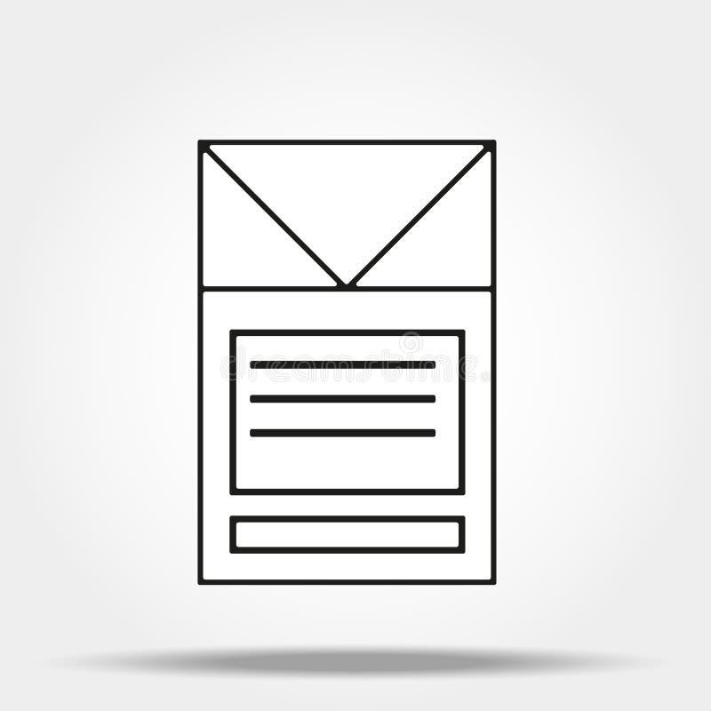 En packe av cigaretter eller cigarettasklinjen konstsymbol f?r apps och websites vektor illustrationer