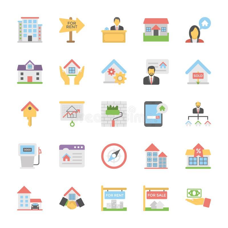 En packe av symboler för Real Estate lägenhetvektor vektor illustrationer