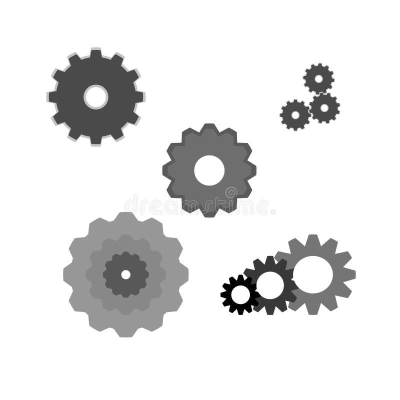 En packe av vektor illustrerade kuggar royaltyfri bild