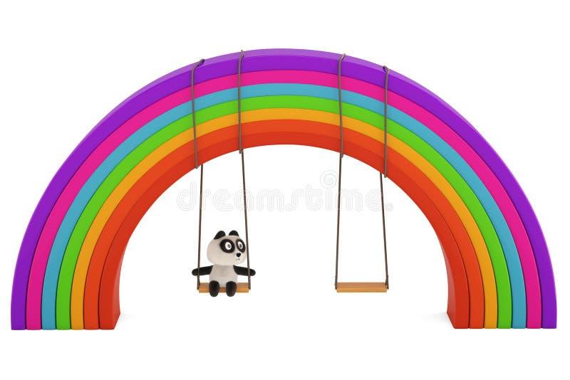 En panda i en gunga under regnbågen, illustration 3D royaltyfri illustrationer