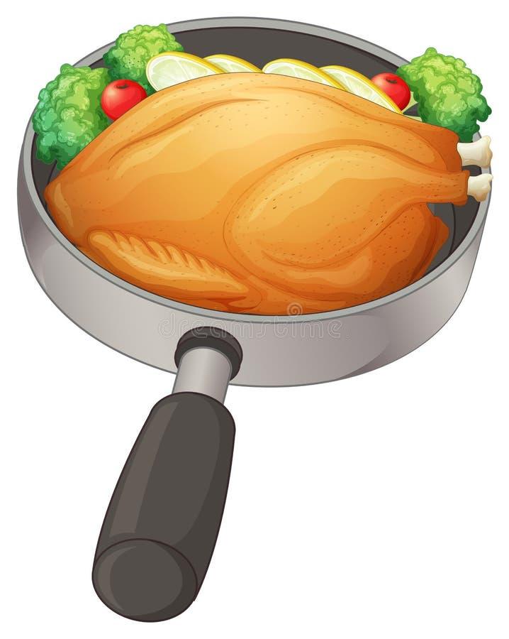 En panna med en stekt kyckling vektor illustrationer