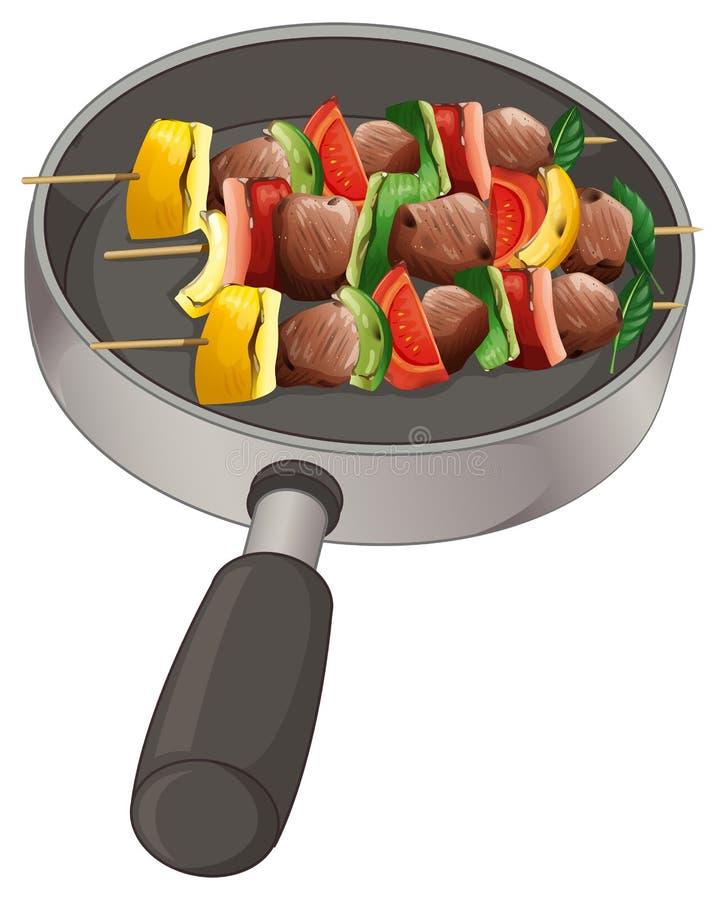 En panna med foods på pinnen stock illustrationer
