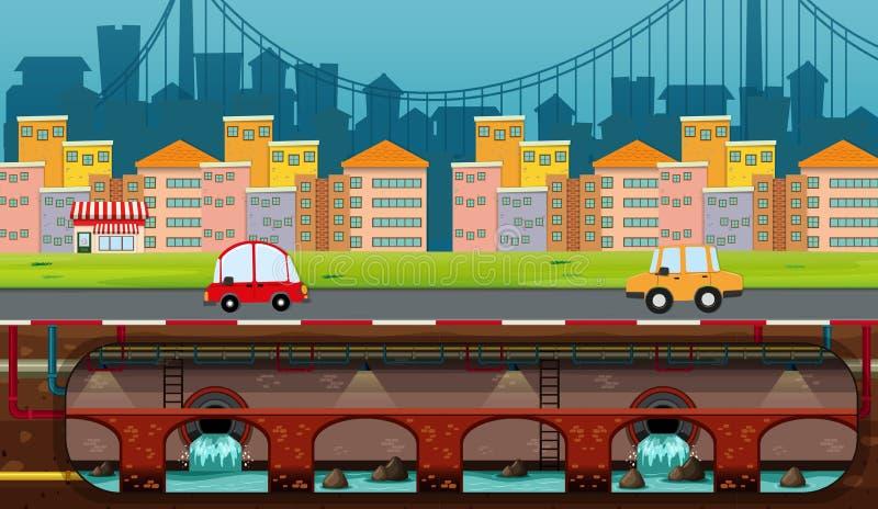 En panoramasikt av staden royaltyfri illustrationer