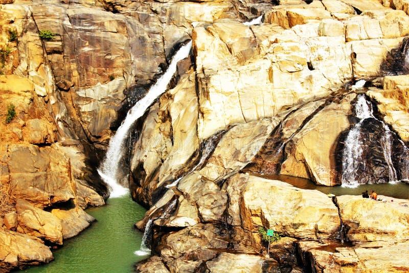 En panoramautsikt av Dasham faller nära Ranchi i Indien royaltyfri bild