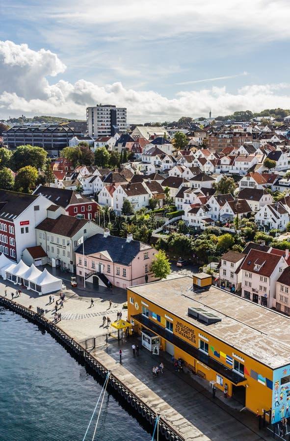 En panoramautsikt av porten av Stavanger i Norge royaltyfria bilder