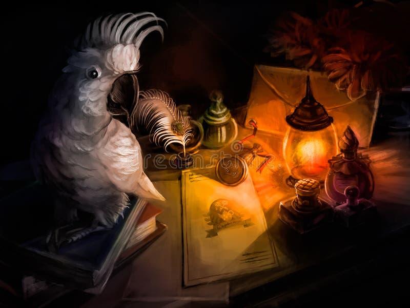 En papegoja sitter på skrivbordet av en författare vektor illustrationer