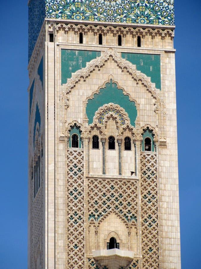 En partisk sikt av den Hasan II moskén i Casablanca, Marocko Det är en av de största moskéerna i världen arkivbilder