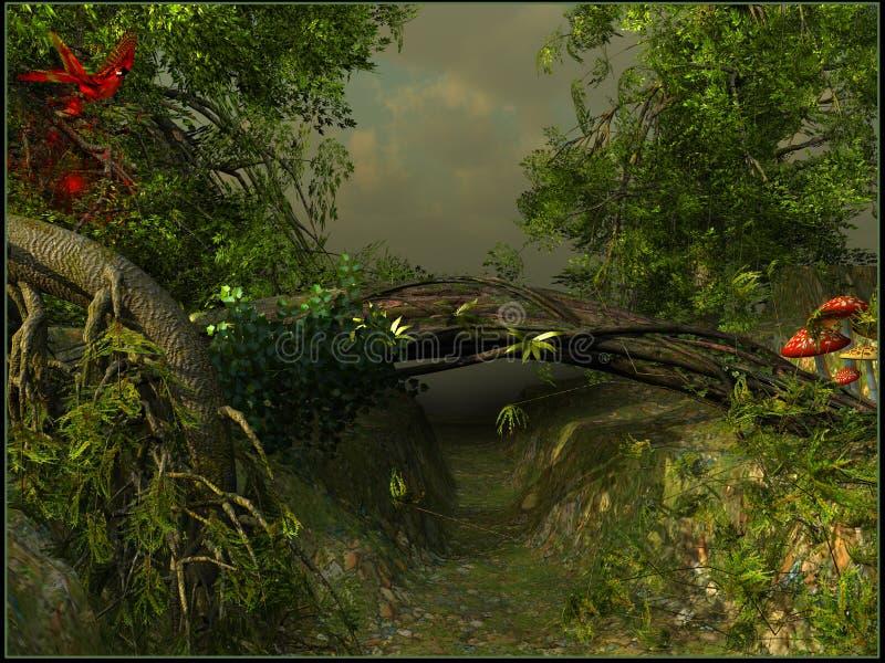 En passage i en djungel stock illustrationer