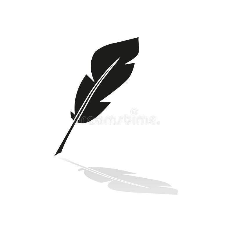 En pennfjäder av symbolen med reflexion stock illustrationer