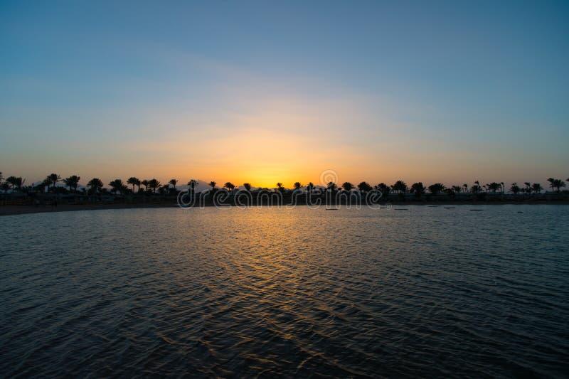 En perfektare solnedgång Solnedgång på havskust med palmträd och solreflexionsvatten Kontur av tropiska palmträd royaltyfria bilder