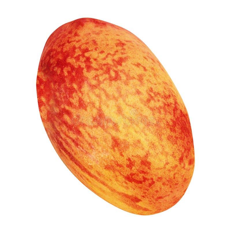 En persika som isoleras på vit arkivfoton