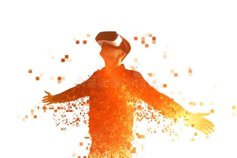 En person i virtuell verklighetexponeringsglas flyger till PIXEL arkivfoton