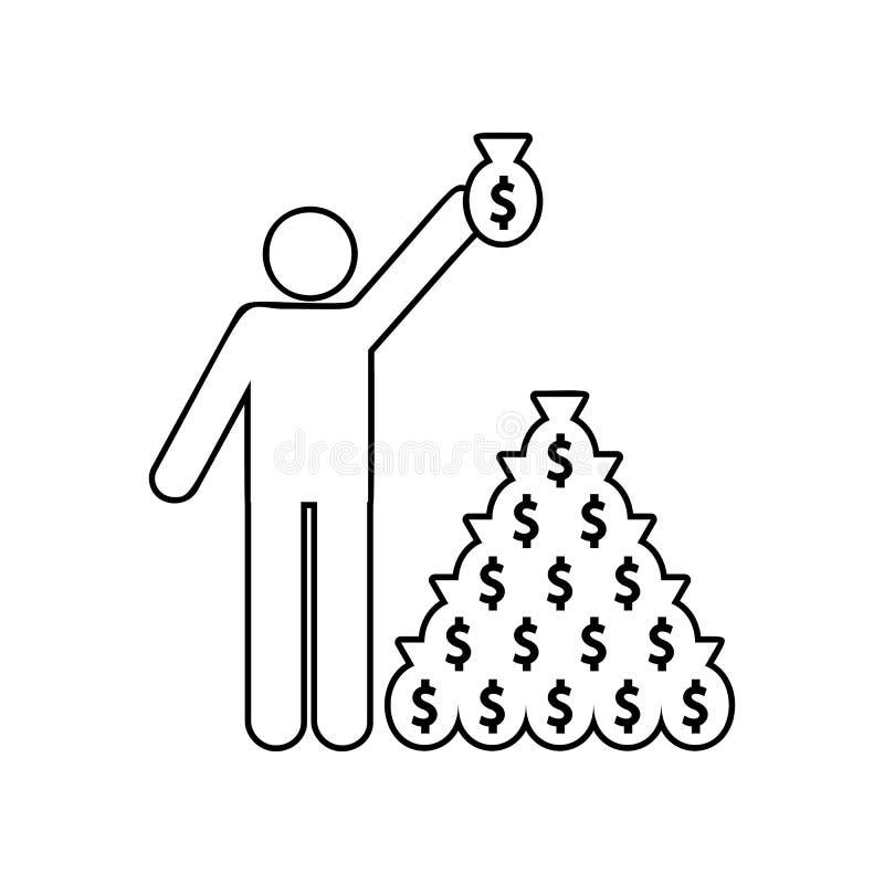 en person samlar pengarp?sesymbolen E ?versikt tunn linje symbol stock illustrationer