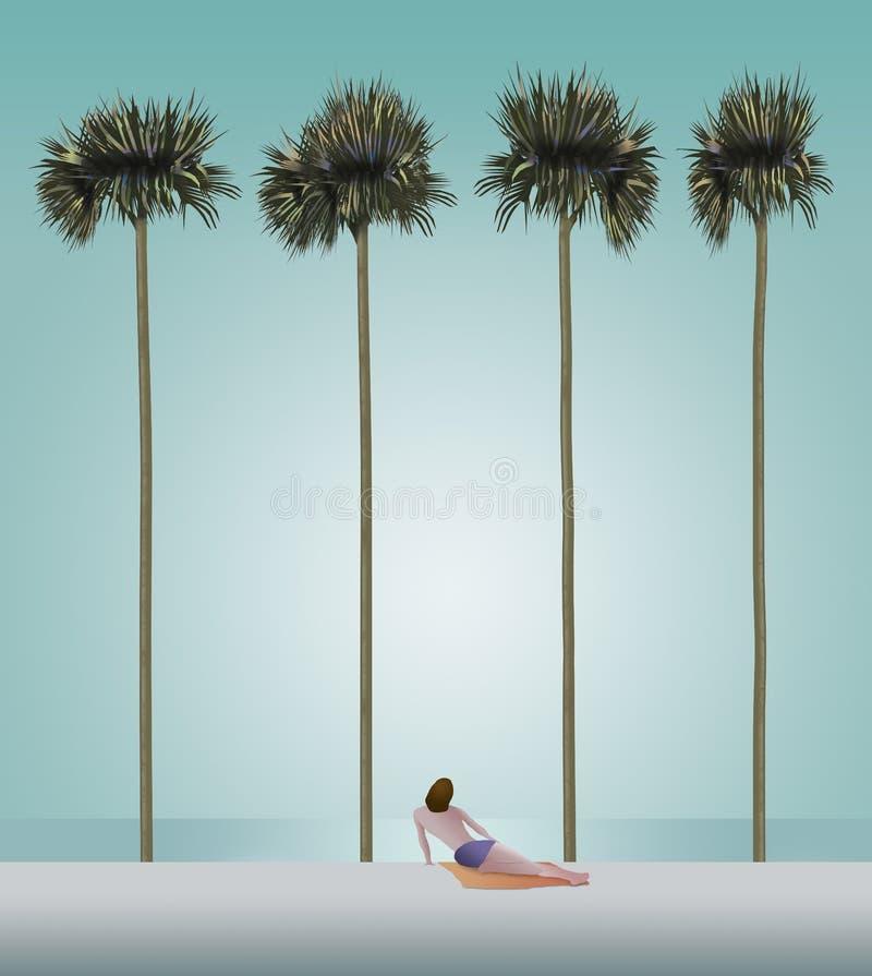 En person ses på en vit sandstrand med mycket högväxta spensliga palmträd och havet i bakgrunden Denna är en illustration royaltyfri illustrationer