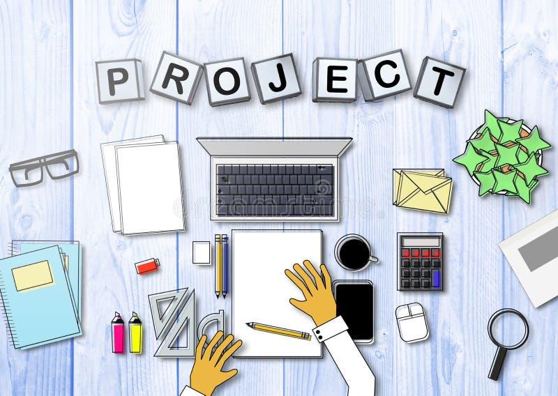 En person som arbetar i ett kontor som framme sitter av ett skrivbord med några kontorstillförsel och en dator vektor illustrationer