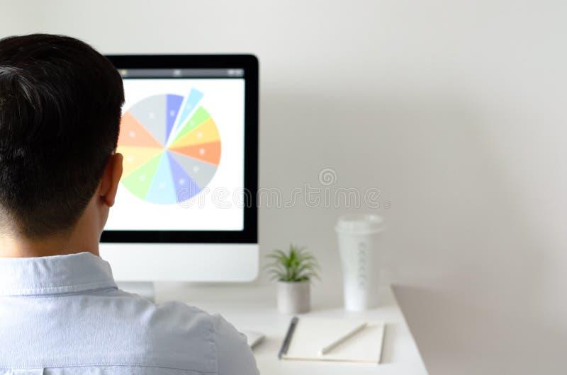 En person som arbetar på kontoret med persondatorskärmen som har en kaffe- och tillandsialuftväxt med utrymme för text på vit arkivbild