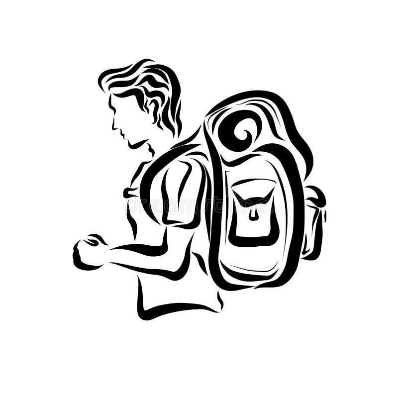 En person som går på en vandring eller en tur stock illustrationer