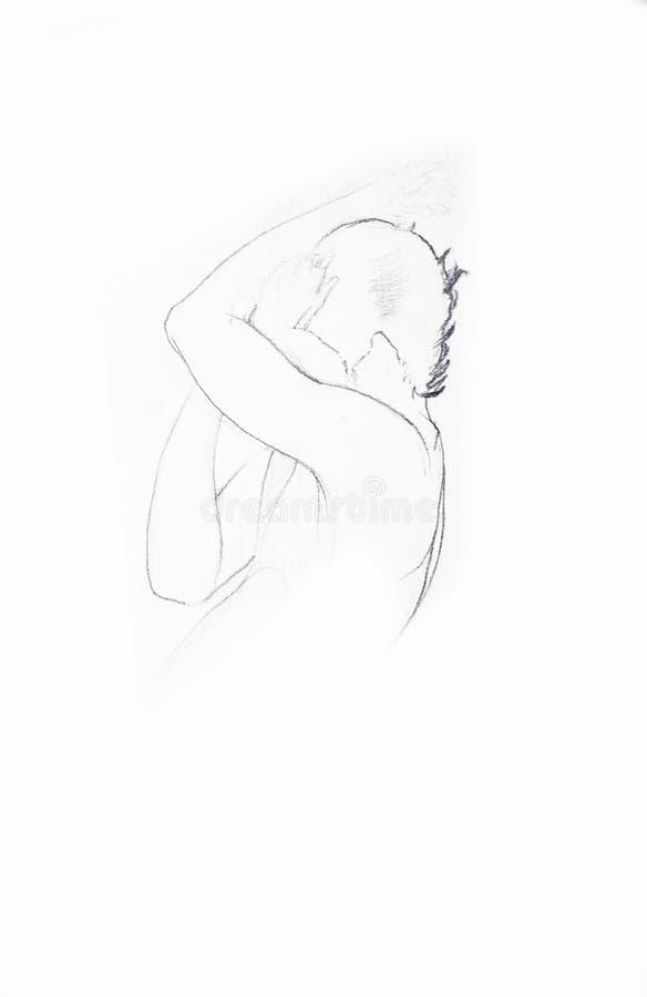 En person som ligger dölja ner framsidan och gråt arkivfoton