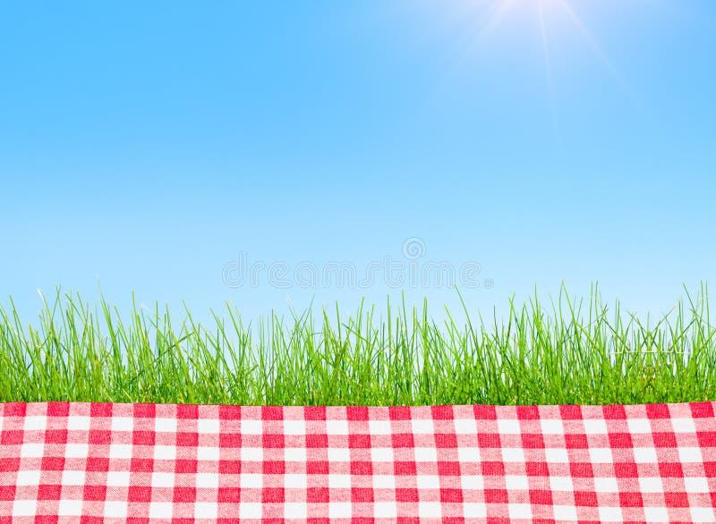 En picknicktabell som t?ckas med den rutiga bordduken vektor illustrationer