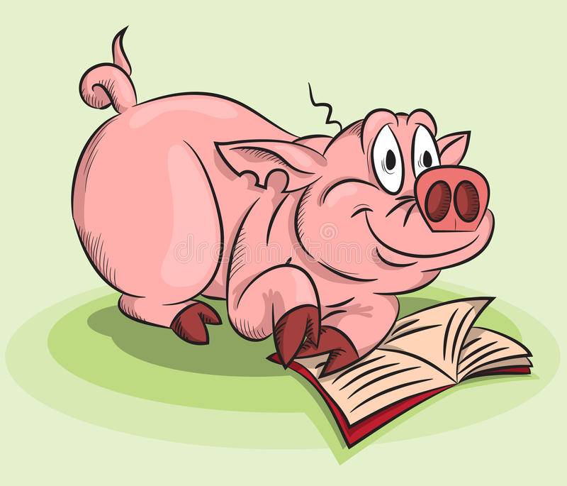 En pig med en bok stock illustrationer